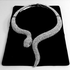 Silver Crystal Snake Choker Necklace